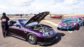 WORLD'S GREATEST DRAG RACE! SUPER STREET VS SUPERCARS * 1/2 MILE AIRSTRIP RACING *