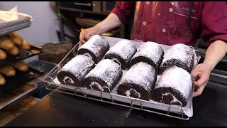 생크림 롤케익,파운드케익,카스테라,초코 롤케익,초코 아몬드 머핀/ 부산제과 -의정부 제일시장 / bread making technique / korean street food