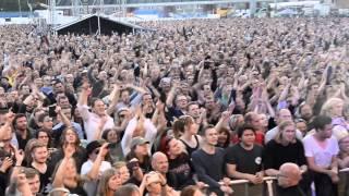 Stig Pedersen from D-A-D, singing, It's After Dark on Østerbro stadium the 5 of June 2015.