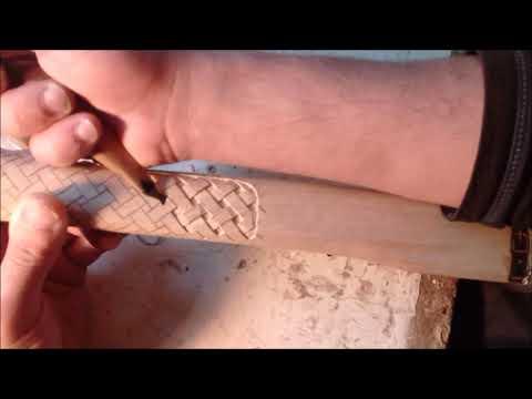 Плетение - резьба по ЯСЕНЮ, рукоять топорища.