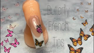 BUTTERFLY FRENCH TIPS   ACRYLIC NAIL TUTORIAL