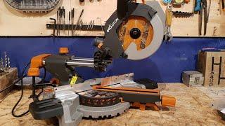 2019 EVOLUTION R210SMS Sliding Mitre Saw unboxing, test, review