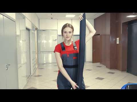 Установка резиновой юбки кожуха щеточного узла (фрагмент видео-инструкции к поломоечной машине МЕТЛАНА М50)