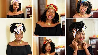 HOW TO: 7 SIMPLE HEADWRAP STYLES FOR CURLY WIGS/WEAVES || JUST MARGIE