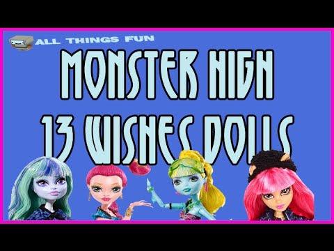 Monster High 13 Wishes Dolls - Meet Howlleen Wolf, Gigi Grant, Lagoona Blue, Twyla & Catty Noire
