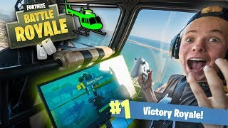 Playing FORTNITE in a HELICOPTER! (1000ft in the SKY)
