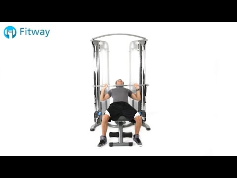 How To Do: Cable Bench Press - Incline Overhand Grip Guillotine Long Bar | Chest Workout