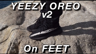 ae2141eba5c YEEZY boost v2 OREO Black White ON FEET -watch 1080p HD