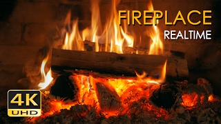 4K Realtime Fireplace - Relaxing Fire Burning Video - 3 Hours - No Loop - Ultra HD - 2160p