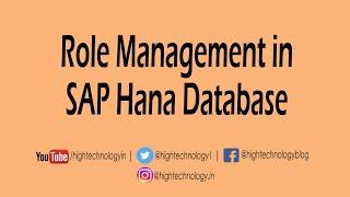 Create Role in SAP Hana | Assign Role to User in SAP Hana