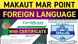 #MAKAUT // FOREIGN LANGUAGE //FREE ONLINE CORSES WITH CERTIFICATE // #MAR POINT