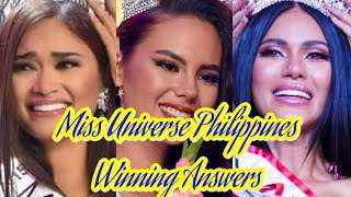 All Winning Answers of Miss Universe - Philippines Queens (2010-2019)