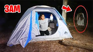 CAMPING IN THE WOODS AT 3AM! *HAUNTED WOODS*