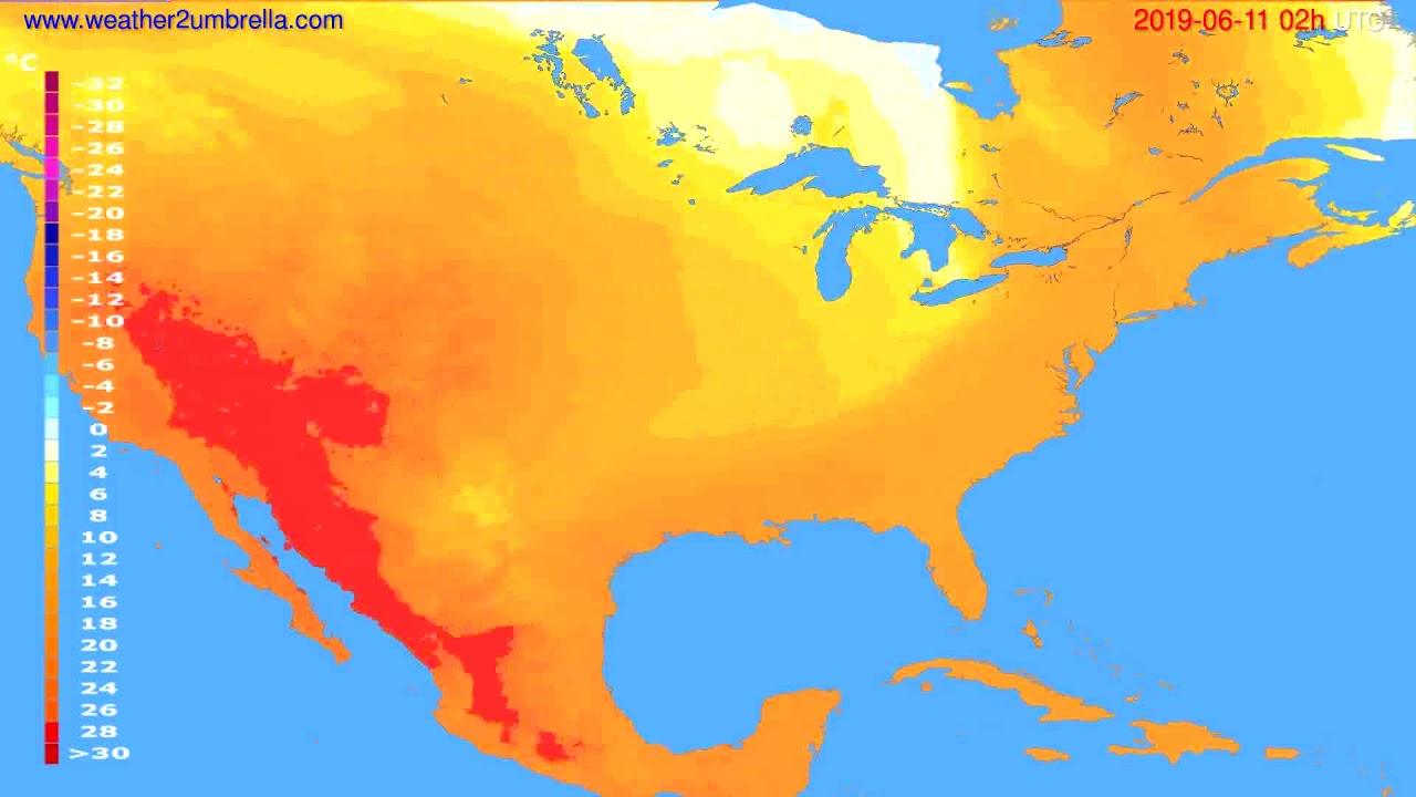 Temperature forecast USA & Canada // modelrun: 12h UTC 2019-06-08
