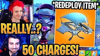"""Streamers React to *NEW* """"GLIDER REDEPLOY"""" ITEM (ITEMIZED REDEPLOY)! - Fortnite Moments"""