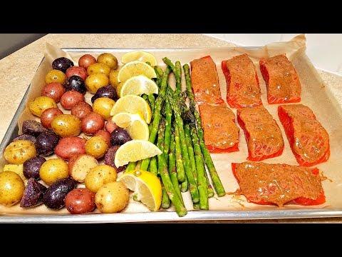 Easy Salmon One Pan Meal Prep | One Pan Salmon and Veggie Dinner | Roasted Salmon Recipe