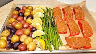 Easy Salmon One Pan Meal Prep | One Pan Salmon and Veggie Dinner | How to Cook Salmon