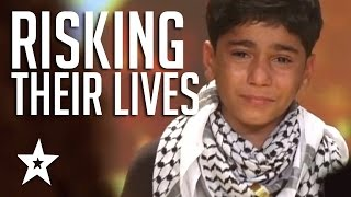 Kids Of Palestine Risk Lives To Show Their Talent Winning Golden Buzzer! العربية حصلت على المواهب - Video Youtube