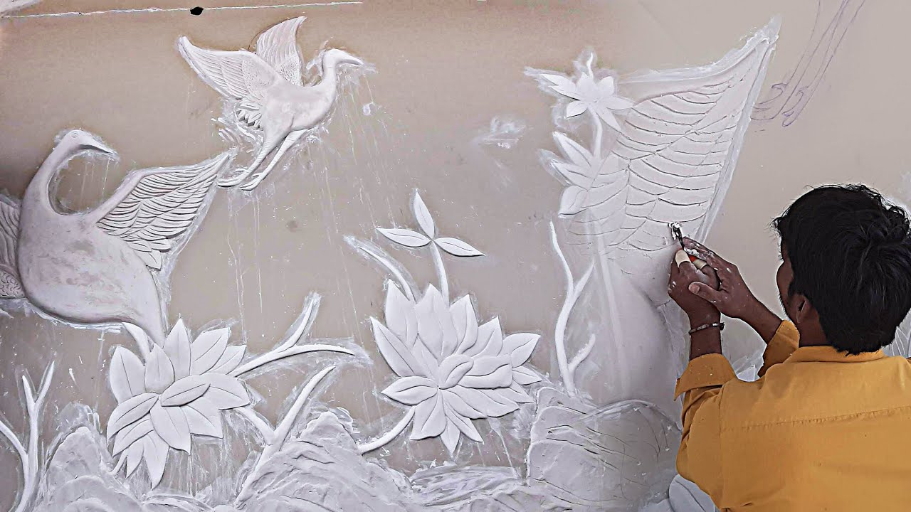 CREATIVE HACKS. <br> Wall art painting Royal play 3D wall design wall putty teture painting.