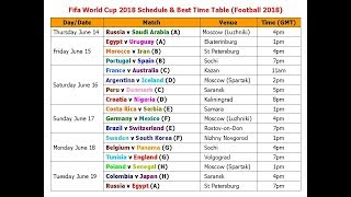 Fifa World Cup 2018 Schedule & Best Time Table (Football 2018)