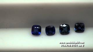 Comparing Color And Transparency In 4 Blue Sapphire Cushions