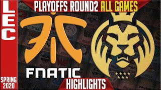 FNC vs MAD Highlights ALL GAMES | LEC Spring 2020 Playoffs Round 2 |  Fnatic vs MAD Lions