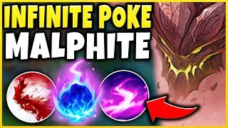 THE BEST WAY TO FORCE RAGE-QUITS! INFINITE POKE MALPHITE IS 100% TOO MUCH! - League of Legends