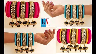 How to make designer silk thread fancy side bangles at home // using hangings tutorial