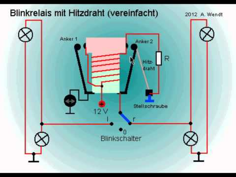Blinkrelais mit Hitzdraht (vereinfacht)