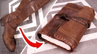 Upcycling Leather Boots Into A Travelers Journal!