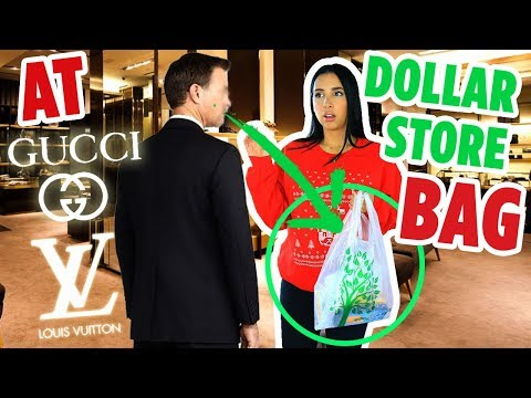 I WENT TO LUXURY STORES WITH A DOLLAR STORE BAG - GUCCI + LOUIS VUITTON SHOPPING SPREE | Mar