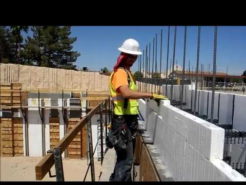 Fox Blocks rip cuts for floor or roof heights on insulated concrete forms