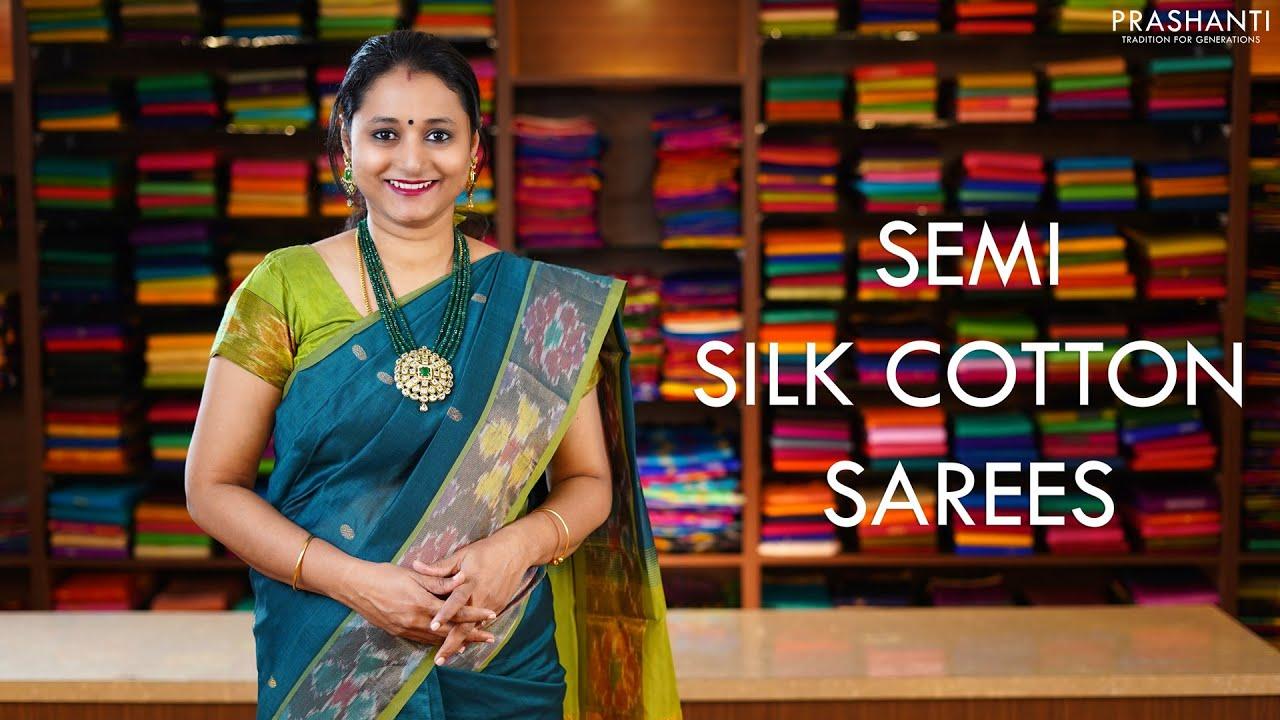 """<p style=""""color: red"""">Video : </p>Semi Silk Cotton Sarees   29 Nov 2020   Prashanti 2020-11-29"""