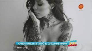 Candelaria Tinelli se tatuó el cuello de negro
