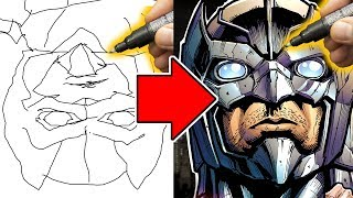 """DRAWING the """"EVIL JUSTICE LEAGUE"""" - THE FLIPPED DISPLAY ART CHALLENGE!"""