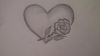 Как нарисовать сердце с розой. Уроки рисования для начинающих