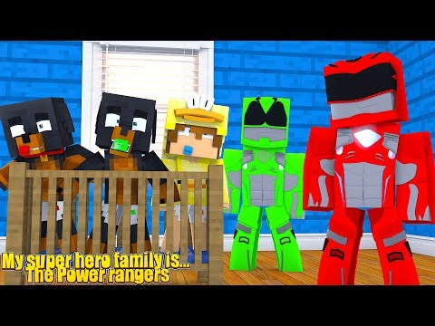 MY NEW SUPERHERO FAMILY IS... THE POWER RANGERS - Baby Duck Minecraft Adventures