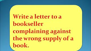 letter to a bookseller complaining against the wrong supply of a book