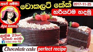 ✔ චොකලට් කේක් පියවරෙන් පියවර Chocolate Cake With Chocolate Frosting With English Sub By Apé Amma