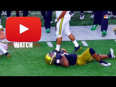 Lights Out! *Big Hit* (HD) Michigan vs Notre Dame