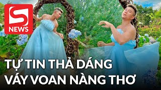 Lương Bằng Quang gây chú ý khi diện váy voan làm nàng thơ