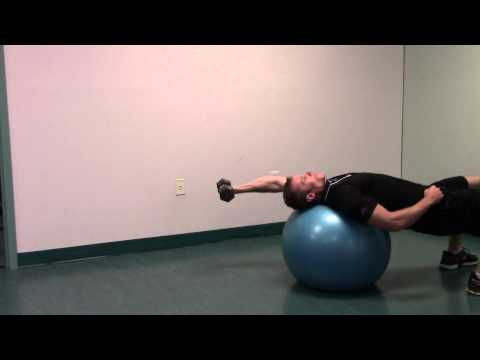 Exercise Ball One Arm Dumbbell Pullover