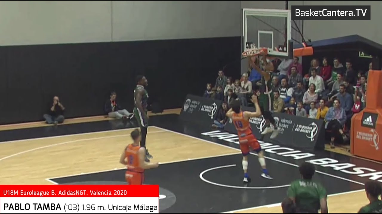 PABLO TAMBA (´03) 1.96 m. Unicaja Málaga. U18 Euroleague B AdidasNGT. Valencia-20 (BasketCantera.TV)
