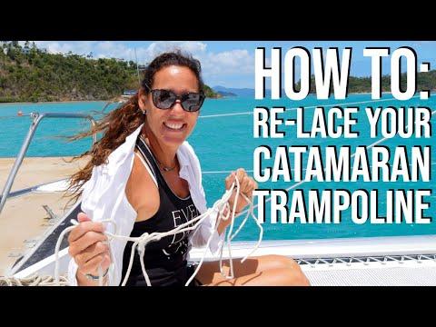 Sailing Bluefin Ep #14 - How to re-lace a Leopard 44 catamaran trampoline