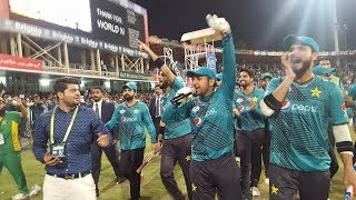 Pakistan Team ground round after winning Independence Cup at Gaddafi Stadium Lahore