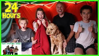 24 Hours In Huge Blanket Fort  That YouTub3 Family