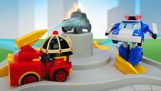 Video mit tollen Spielzeugautos auf Deutsch. Robocar Poli und das Rettungsteam. Ordnung in der Stadt