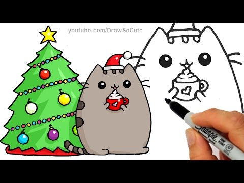 How To Draw Christmas Holiday Pusheen Cat Step By Easy And Cute