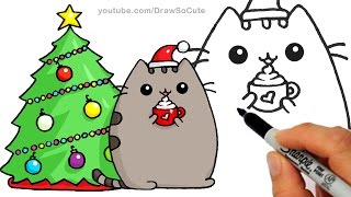 How to Draw Christmas Holiday Pusheen Cat step by step Easy and Cute