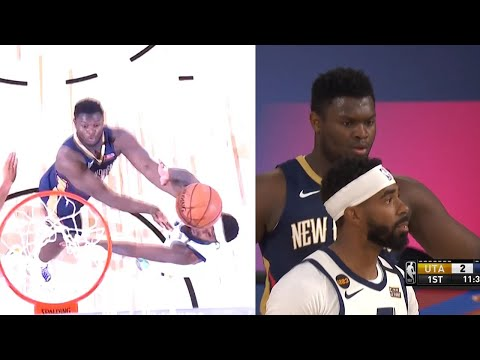 Zion Williamson got the first points of the NBA restart | PELICANS vs JAZZ